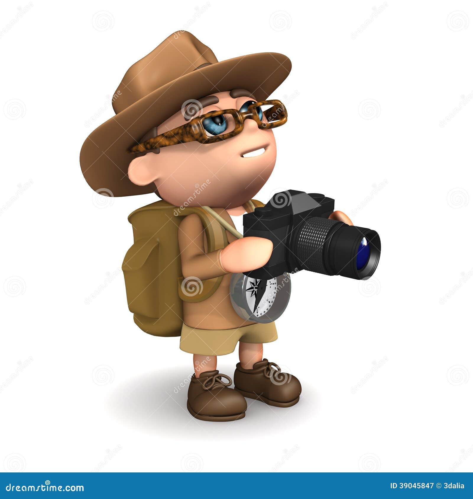 3d回报有照相机的一位探险家.图片