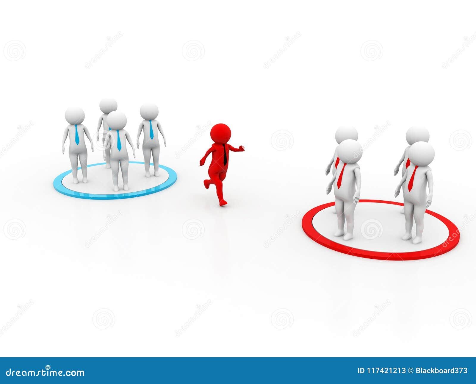 3D描述改变的队的概念,伟大为事务或常规想法