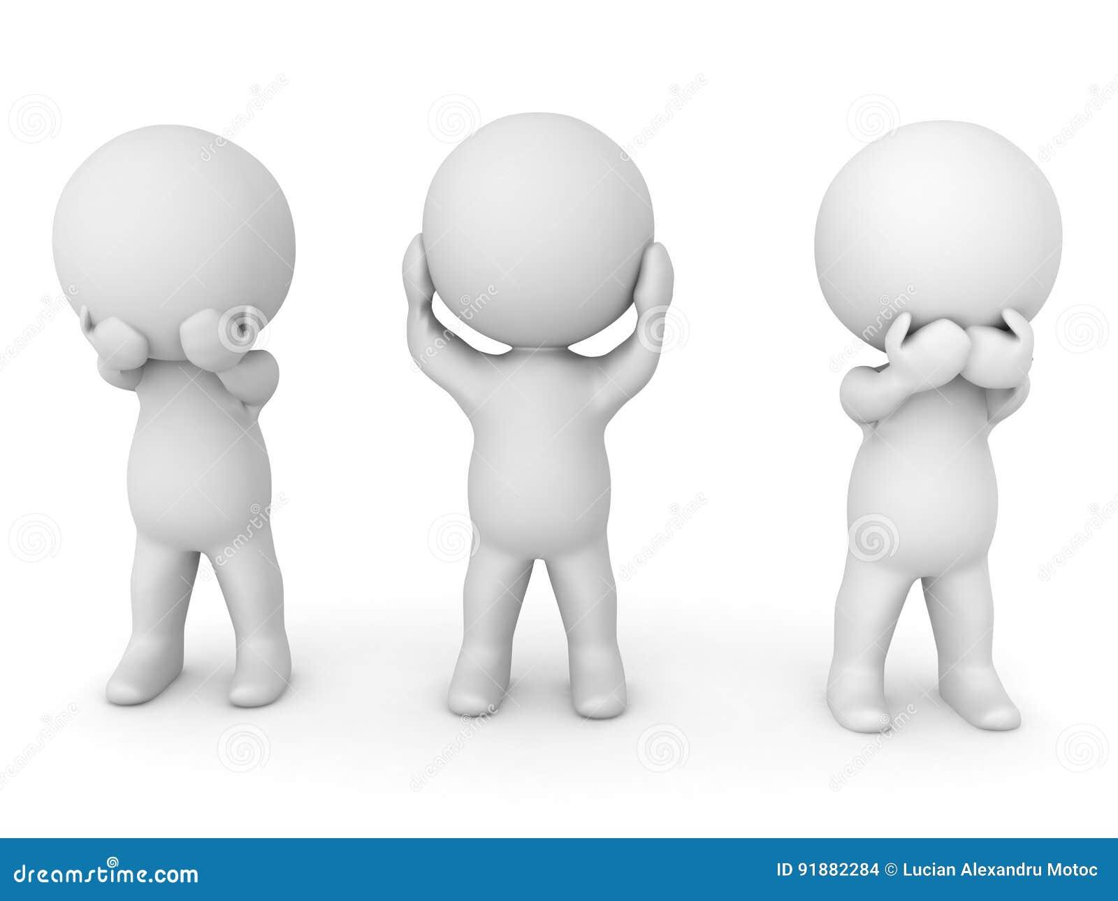3D描述看见的例证没有罪恶,听不到罪恶,讲n