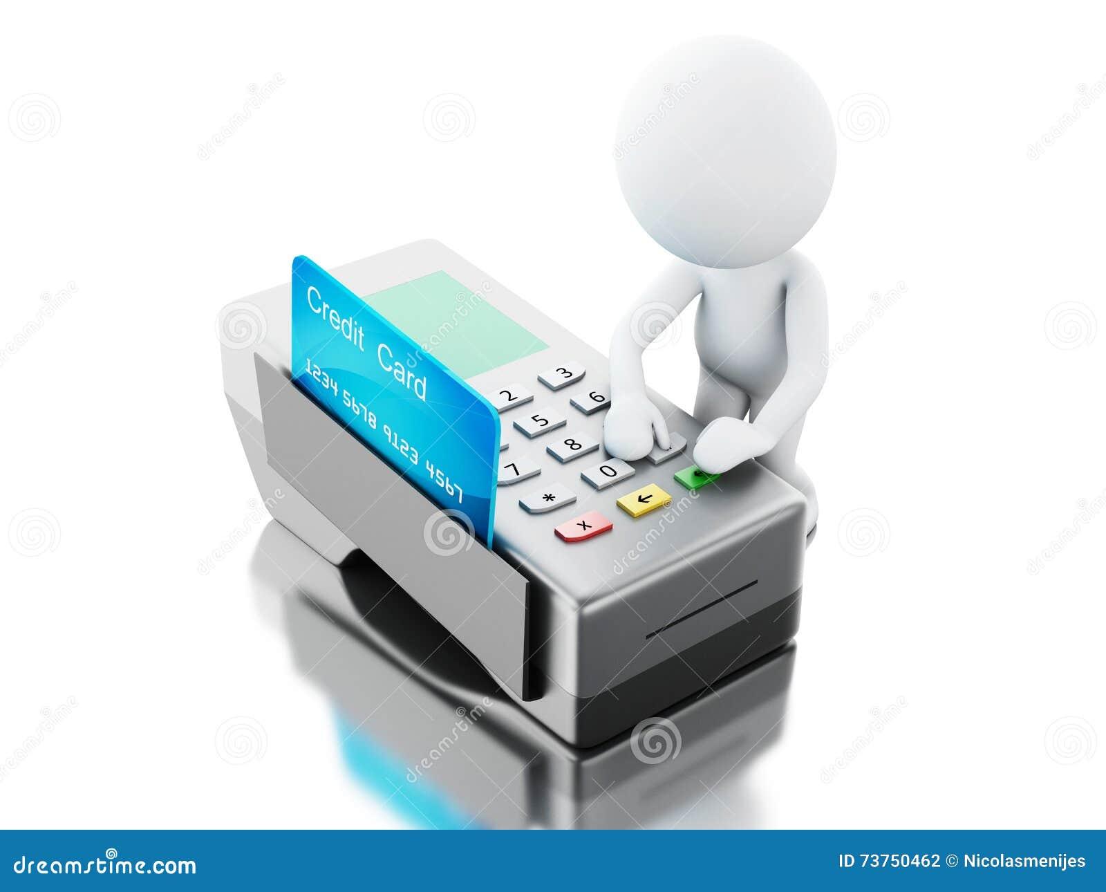 3d支付与一张信用卡的白人在银行终端