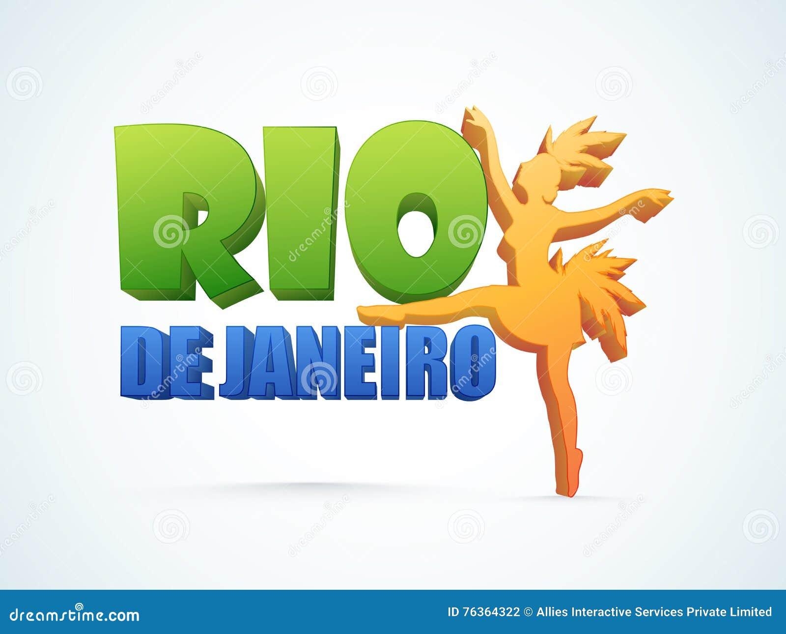3D文本有桑巴舞蹈家的里约热内卢