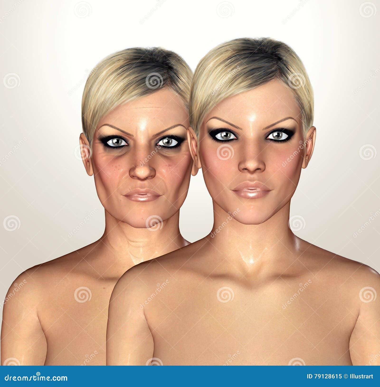 3d显示老化概念的妇女形象的例证
