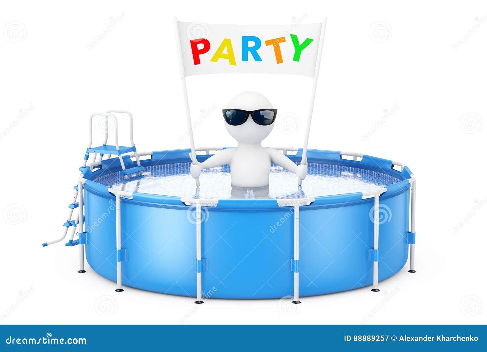 3d有党招贴横幅的人在蓝色便携式的室外Rou