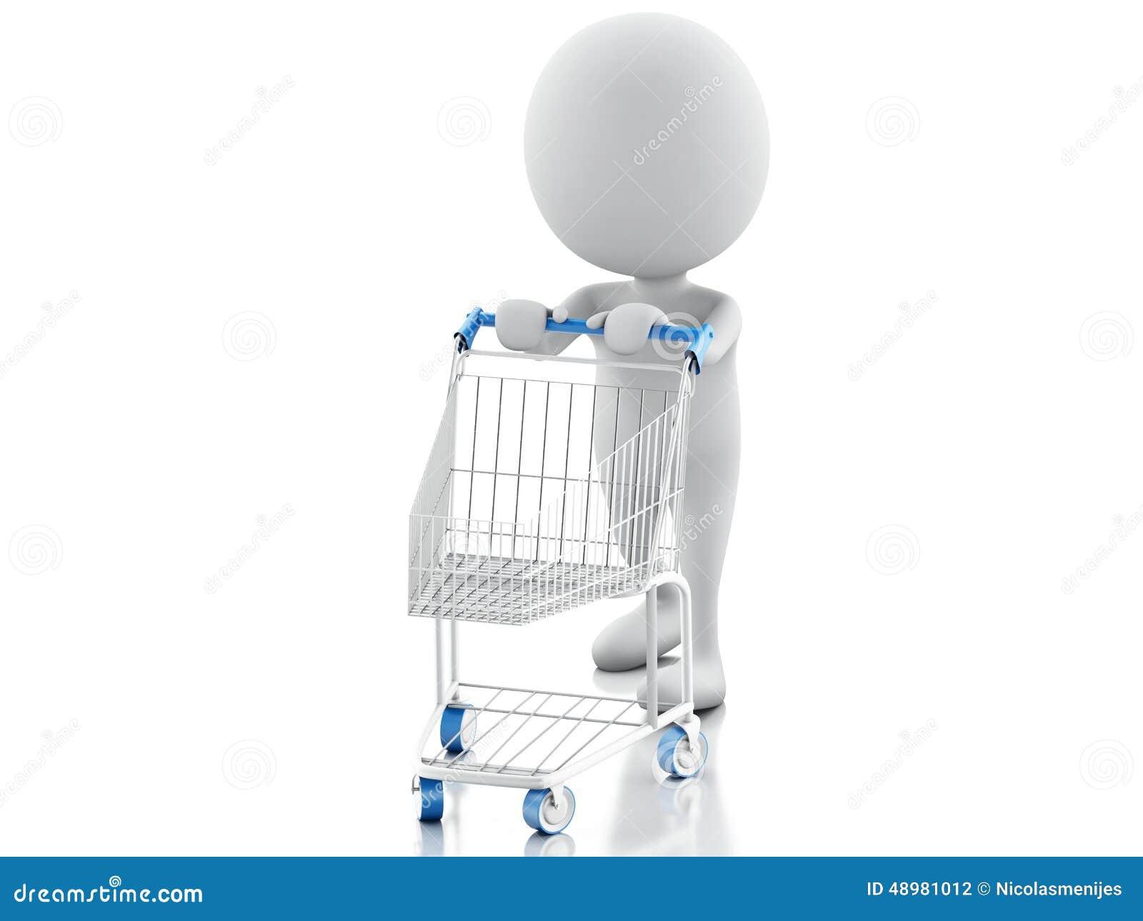 3d有在白色背景隔绝的购物车的白人