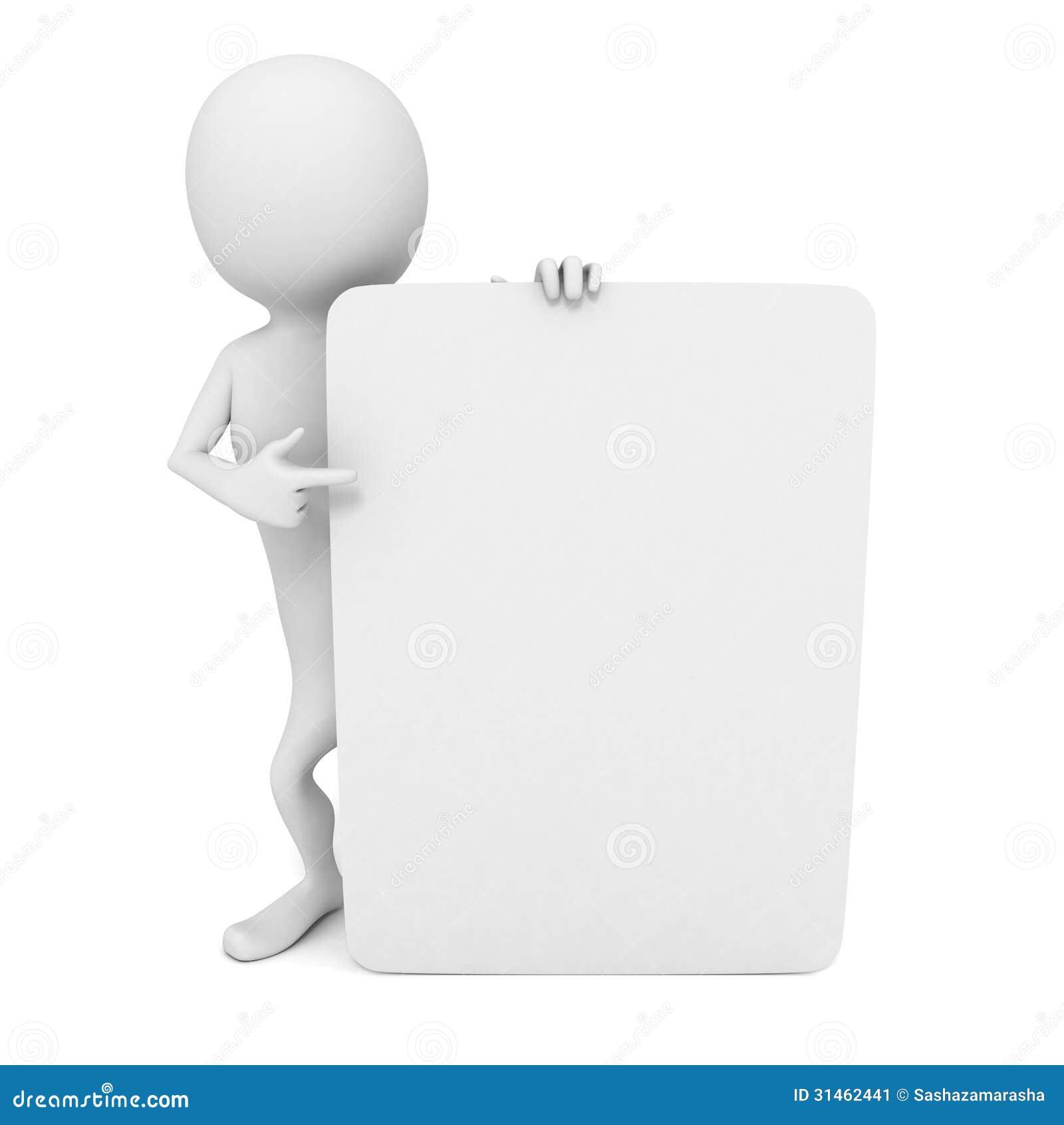 3d有指向的手指人白色空白的名片库存图片- 图片