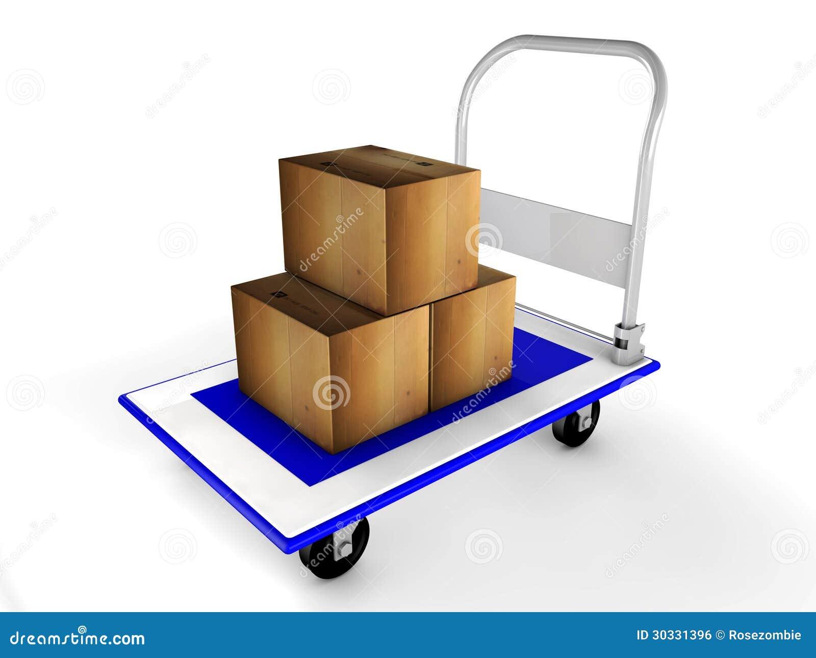 3d有箱子的台车