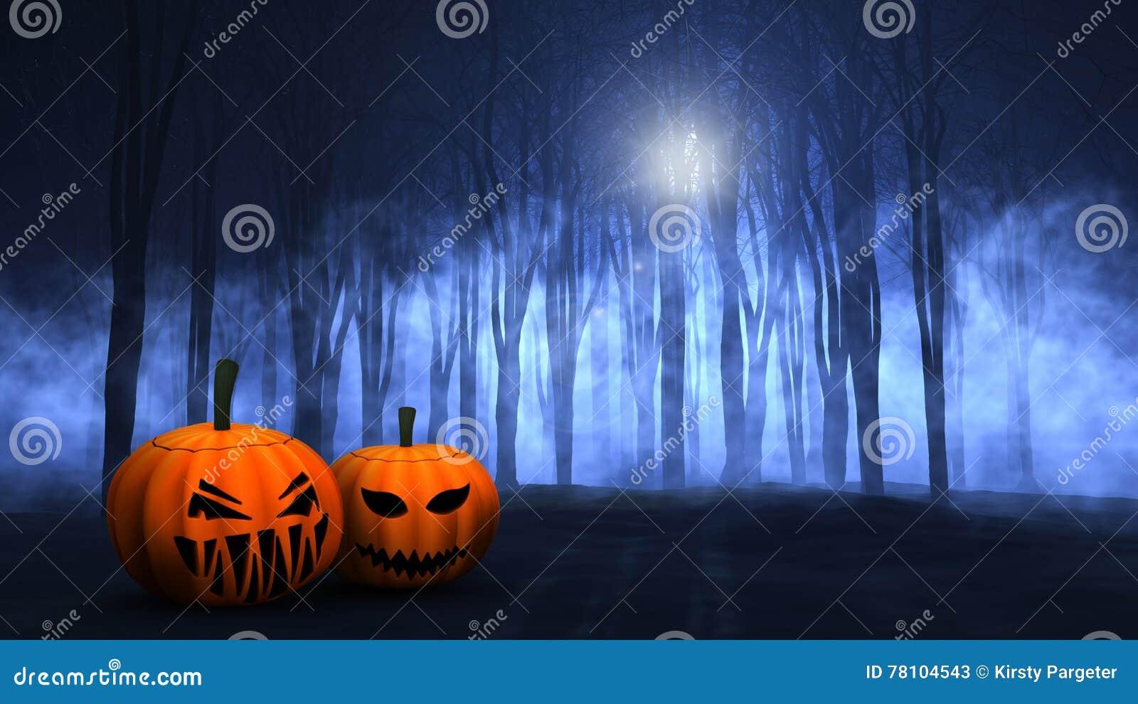 3D有雾的鬼的森林用万圣夜南瓜