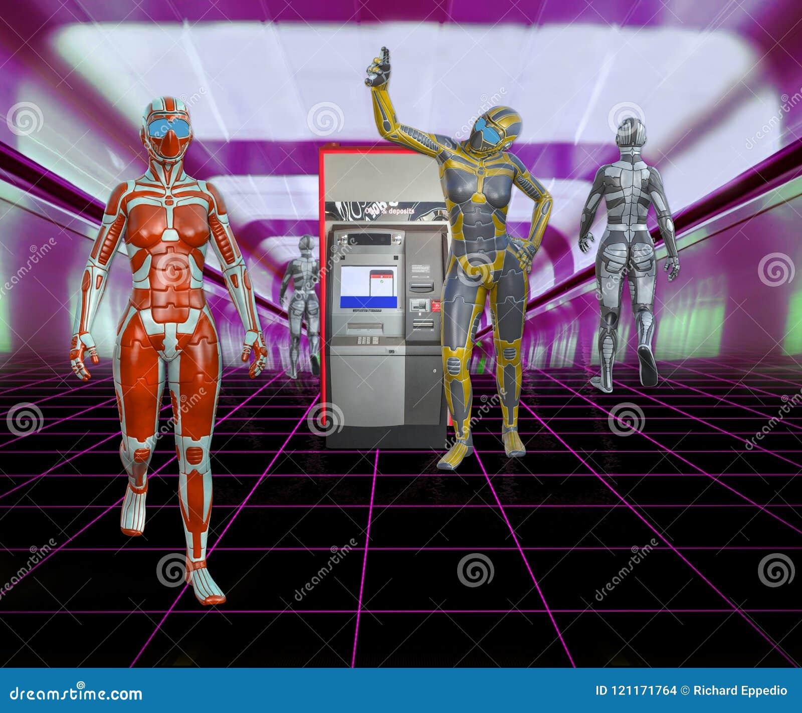 3D未来派机器人的例证在购物中心的与现钞机