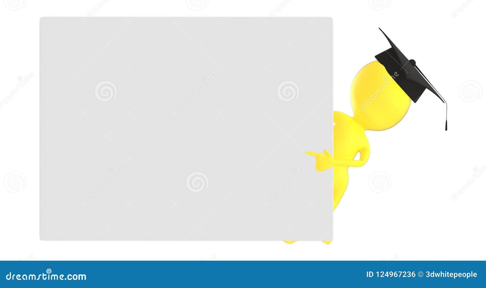3d染黄字符,指向他的往一个空的委员会的毕业的字符手