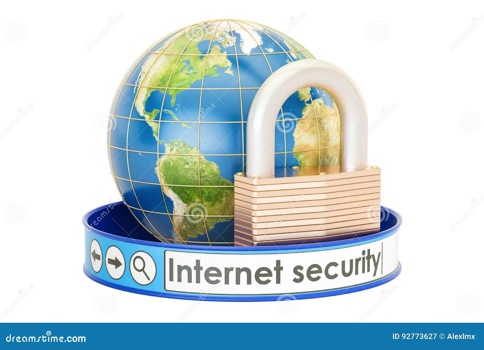 3d概念互联网翻译证券 与挂锁的地球,保护概念,