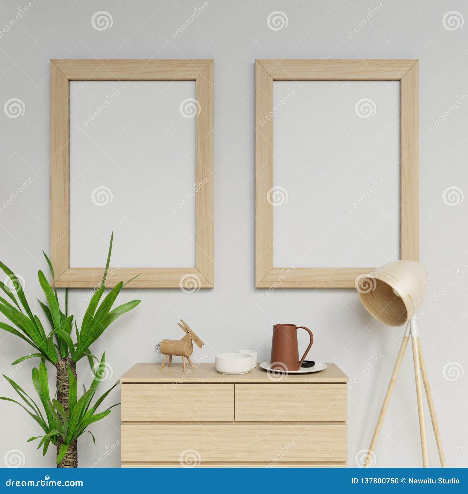3d照片拟真的家庭内部回报两个a1海报大模型与垂悬在干净的垂直的木制框架的设计模板