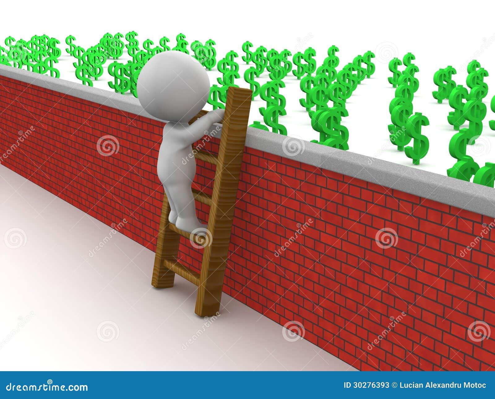 3D有的人上升的梯子在墙壁的金钱
