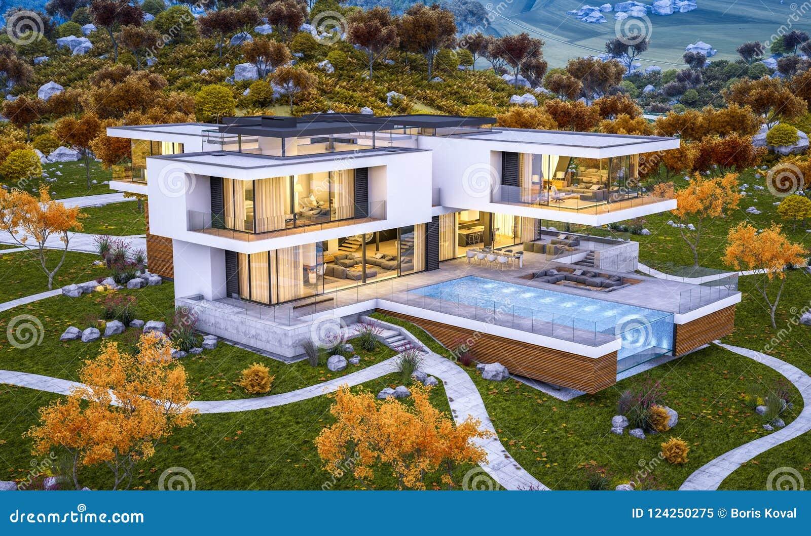 3d现代房子翻译在平衡wi的河凉快的秋天之前