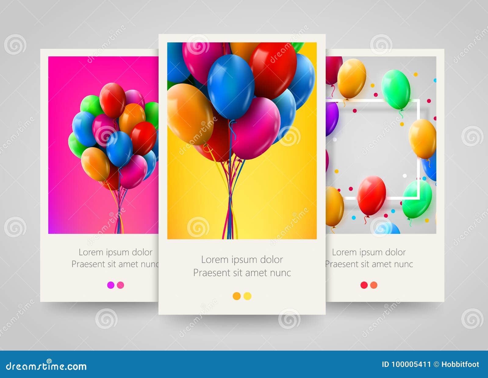 3d现实五颜六色的束生日迅速增加党和庆祝的飞行 海报、飞行物或者票设计