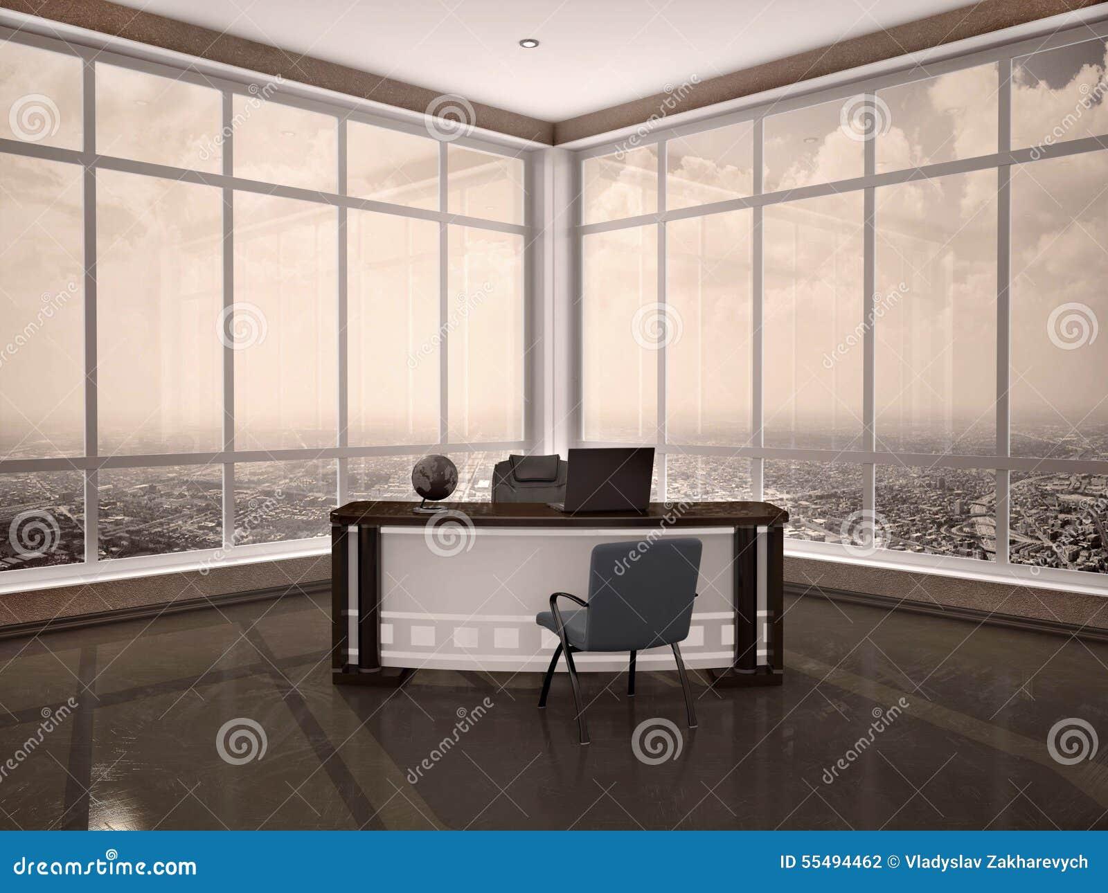 3d现代工作场所的例证在办公室