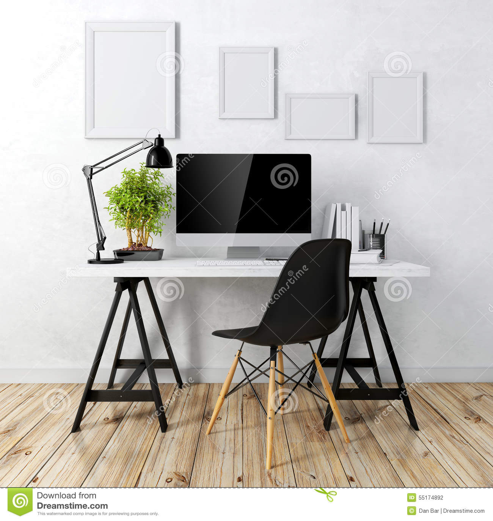 3d现代计算机工作场所