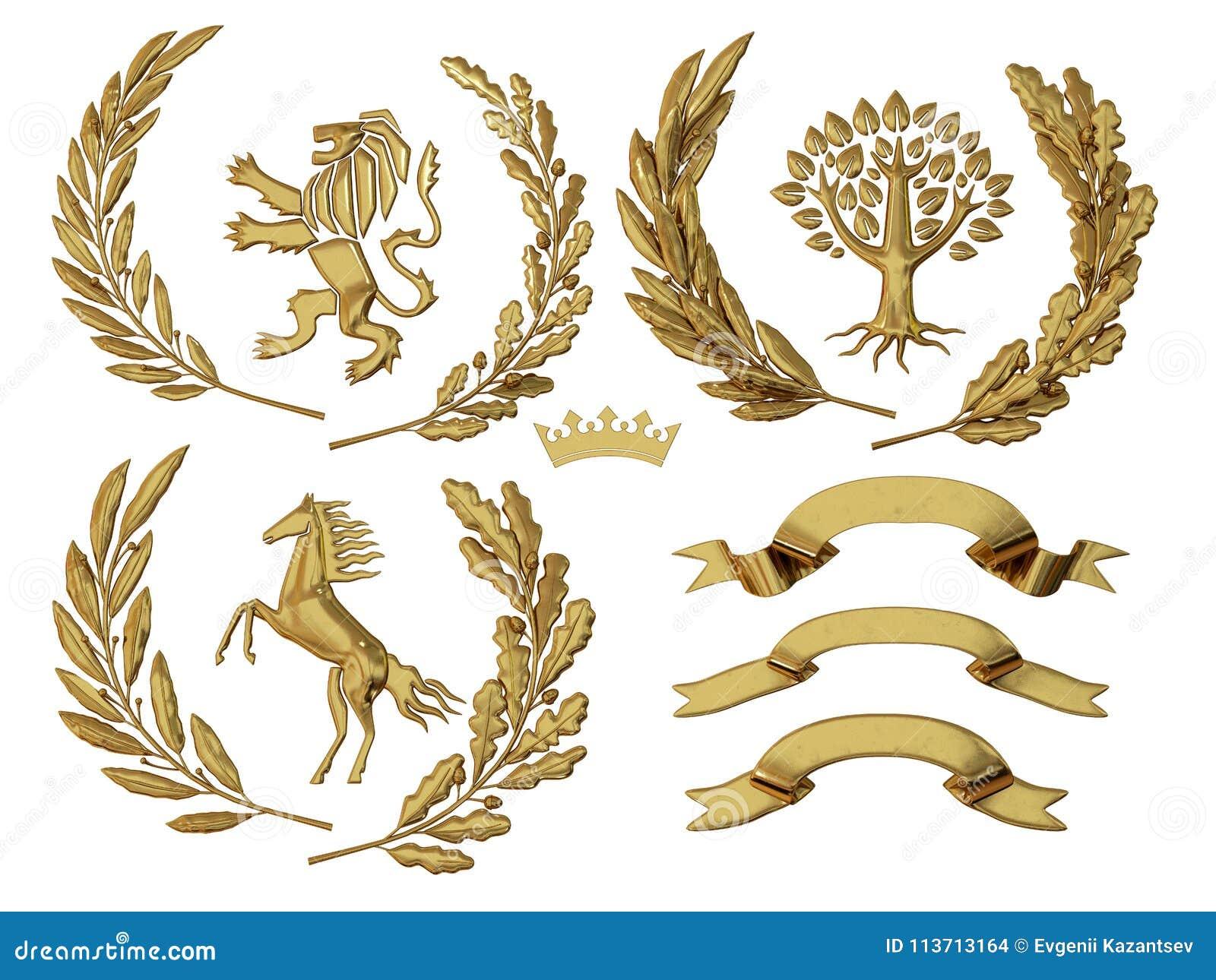 3D纹章的例证 一套对象 金黄橄榄树枝,橡木分支,冠,狮子,马,树