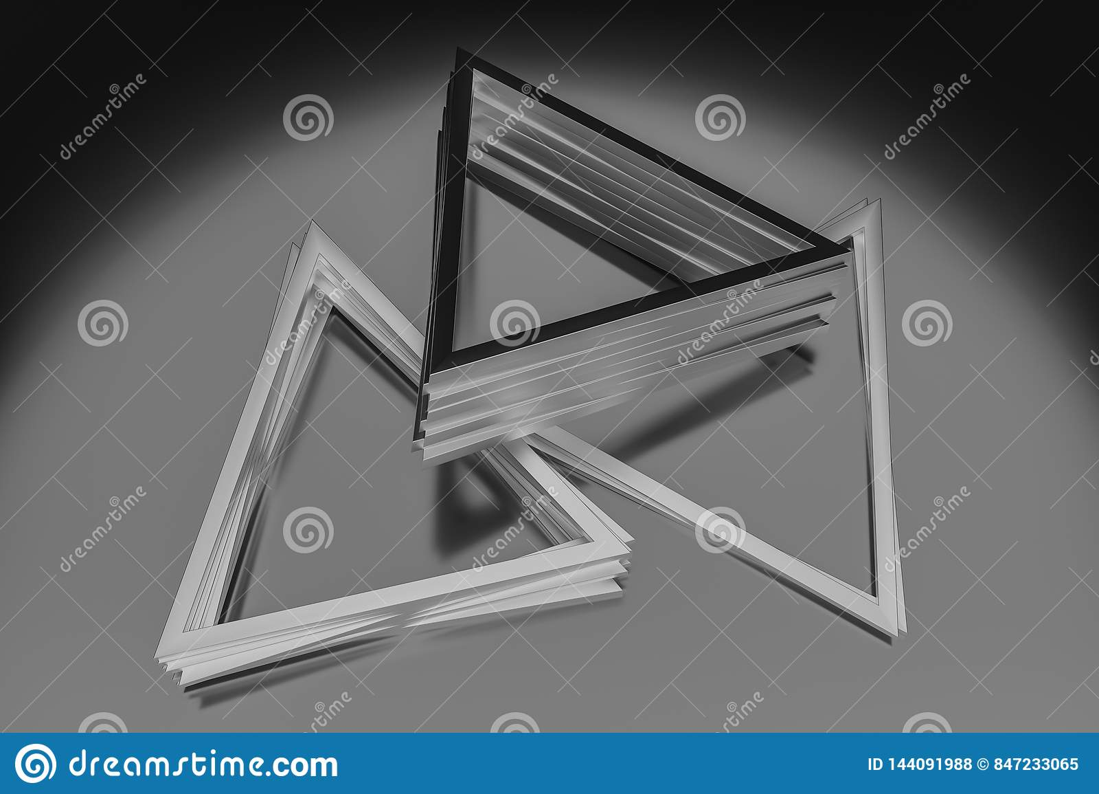 3d翻译,三角金属框架,工业背景