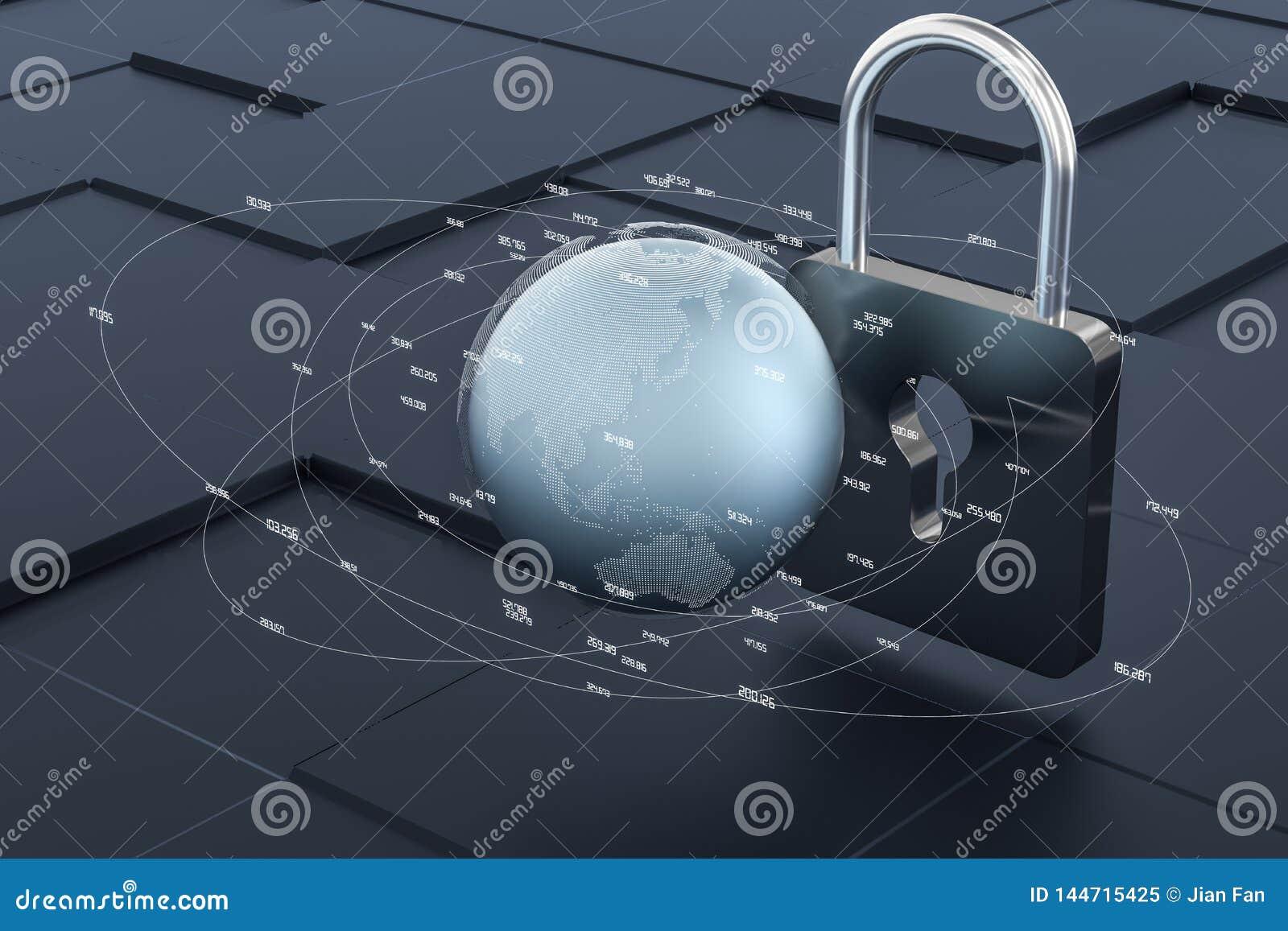 3d翻译,金属锁有数字概念背景