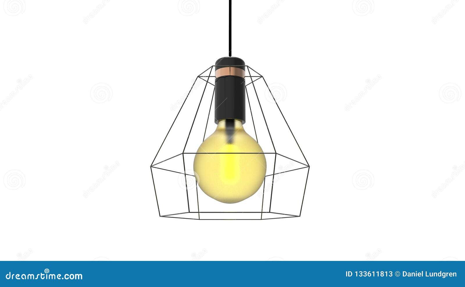 3D被隔绝的笼子导线爱迪生灯的例证