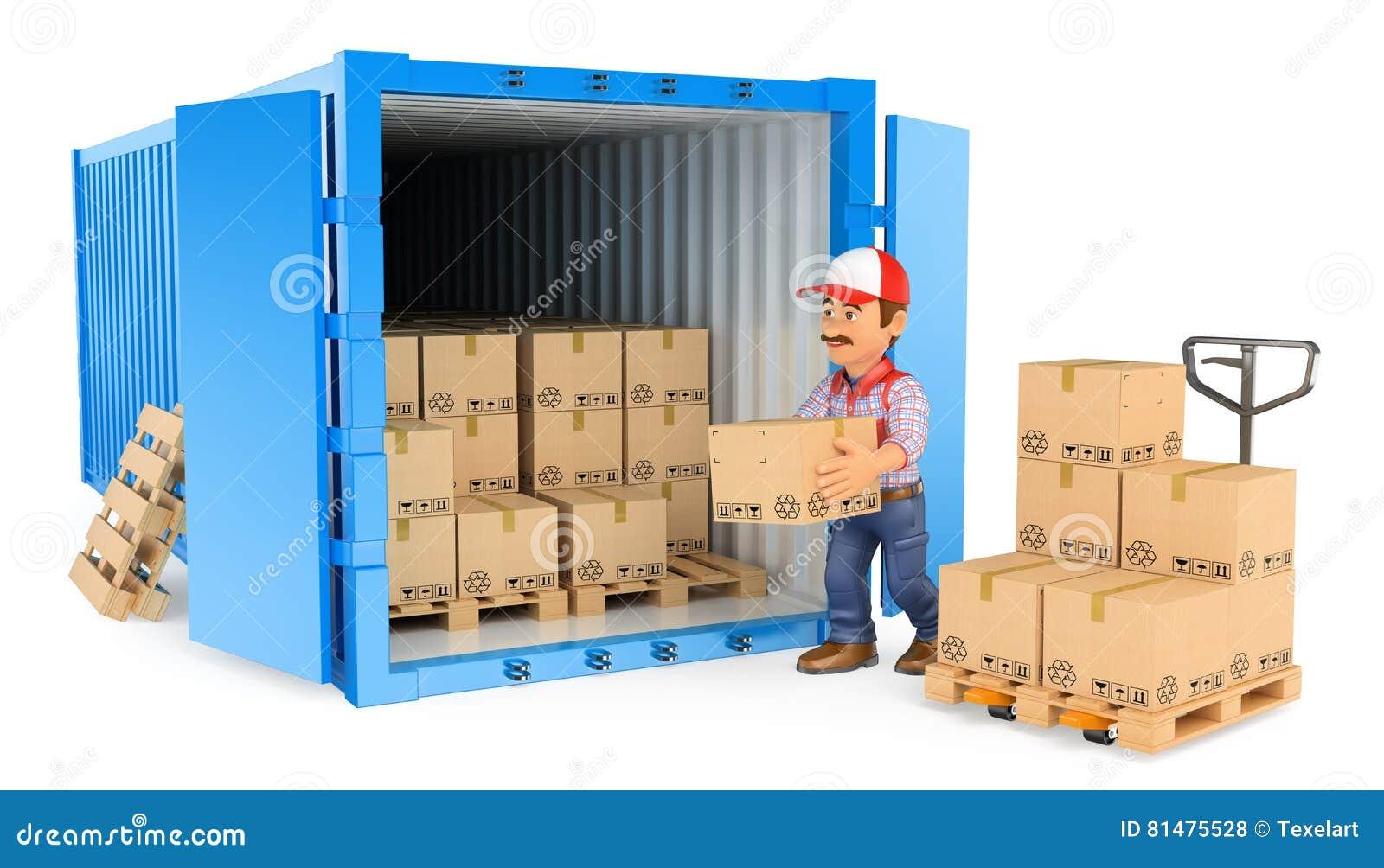 3D装载或卸载容器的工作者