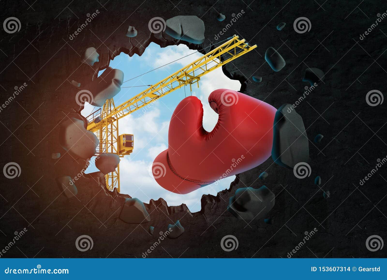 3d运载红色拳击手套和打破黑墙壁的卷扬起重机翻译留给在它的孔天空蔚蓝看