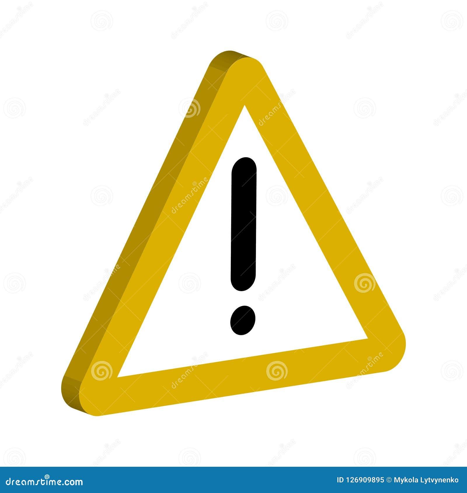 3D通知的标志,黄色三角和感叹号导航标志重要通知