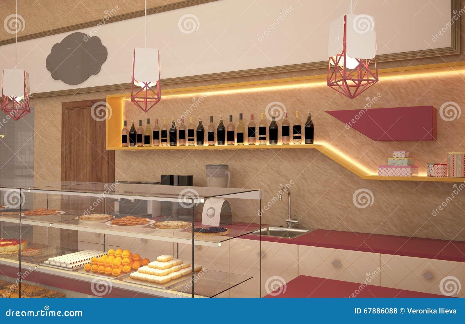 3D面包点心店室内设计的形象化