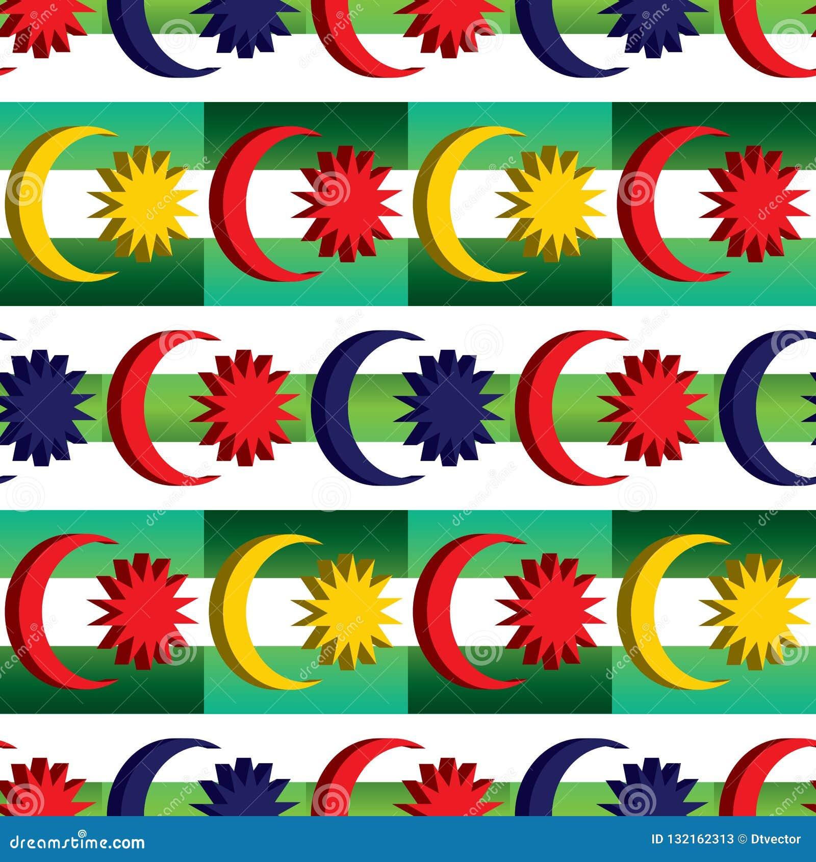 3d马来西亚旗子元素结合马来的绿色对角颜色对称无缝的样式