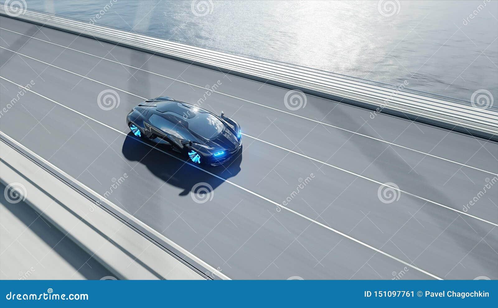 3d黑未来派汽车模型在桥梁的 非常快速驾驶 未来的概念 3d??