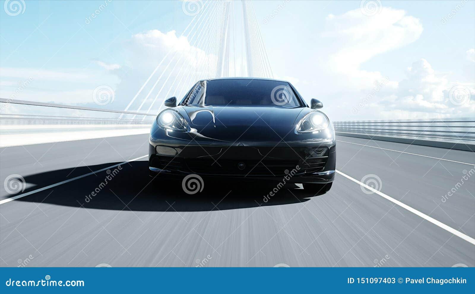 3d黑跑车模型在桥梁的 非常快速驾驶 3d??