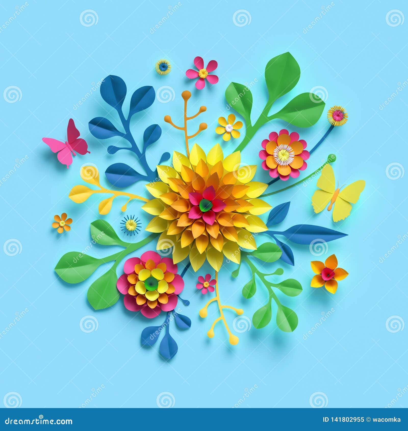 3d übertragen, Kraftpapierblumen, runder Blumenstrauß, gelbe Dahlie, botanische Anordnung, helle Süßigkeitsfarben, Naturclipart