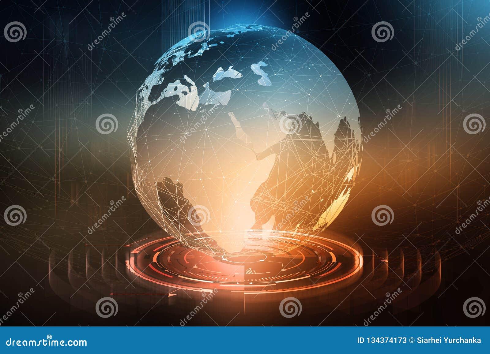 D échange de données global Formation d un réseau de transmission planétaire Affaires dans le domaine des technologies numériques