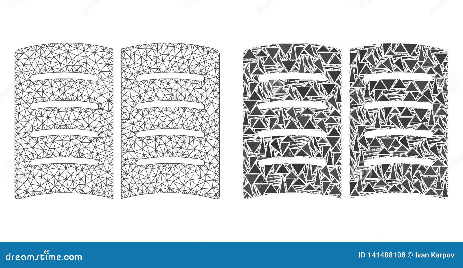 2D ícone poligonal de Mesh Open Book e do mosaico