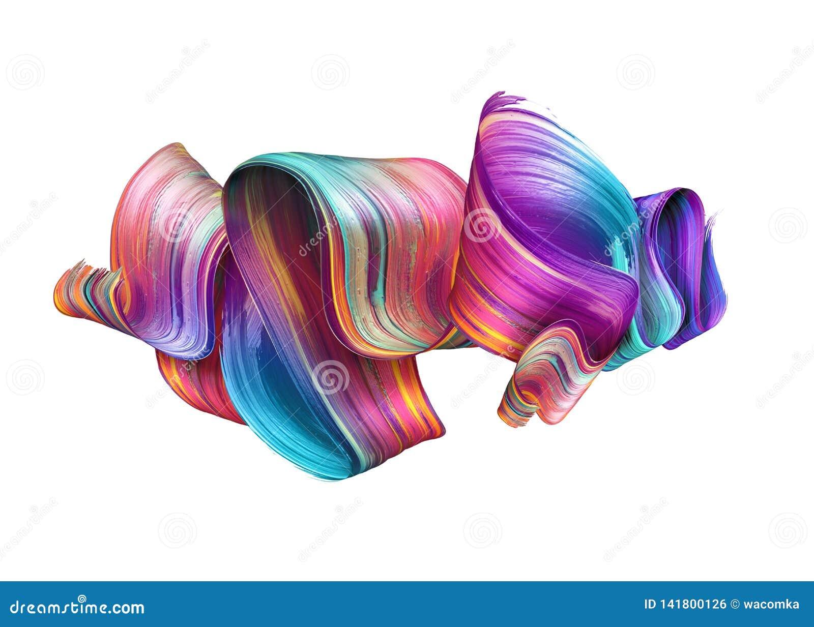 3d представляют, абстрактный ход щетки, неоновый мазок, красочная сложенная лента, текстура краски, художественное искусство зажи