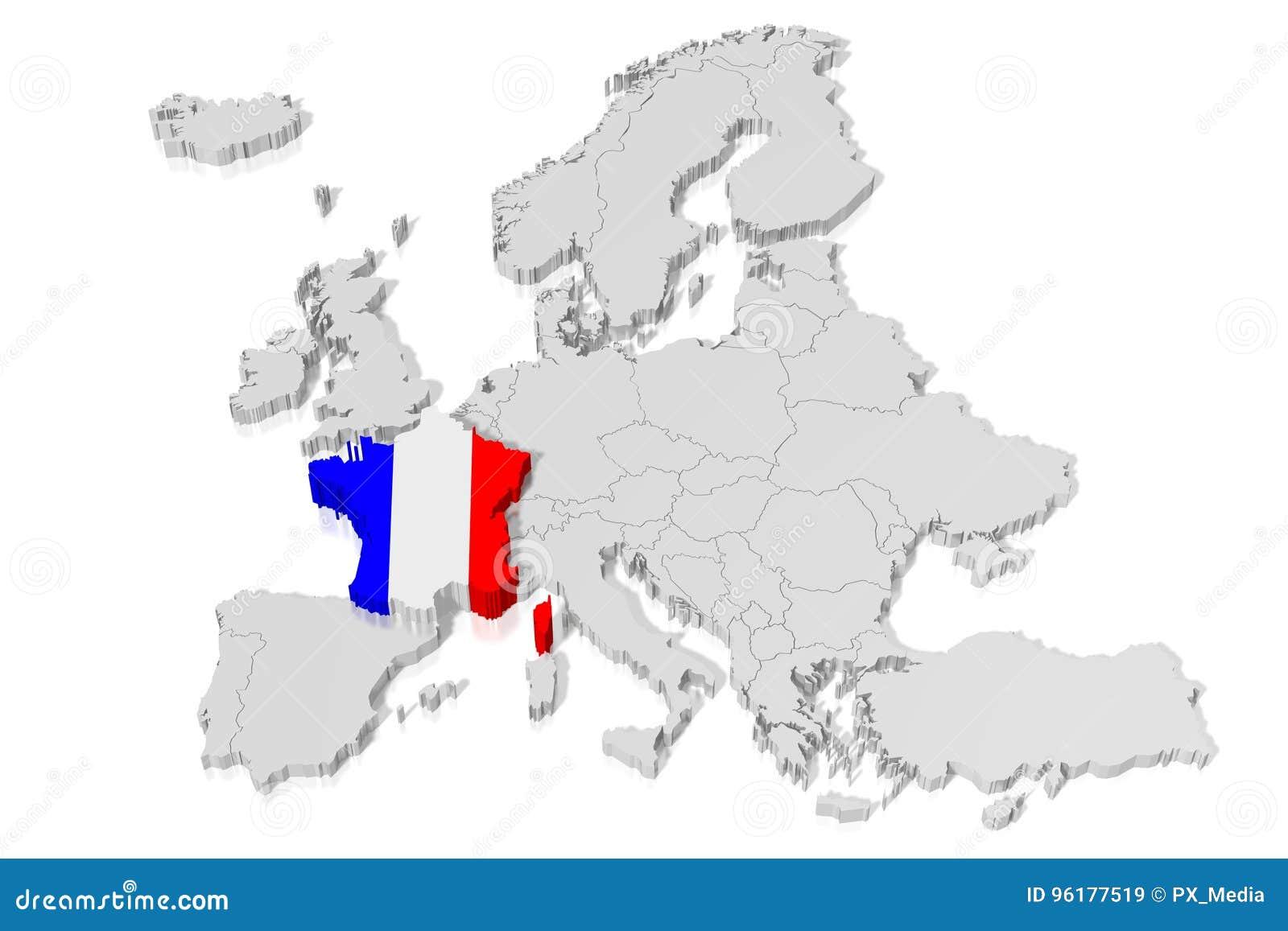 3d Oversikt Flagga Frankrike Stock Illustrationer Illustration Av Kontinent Europeiskt 96177519