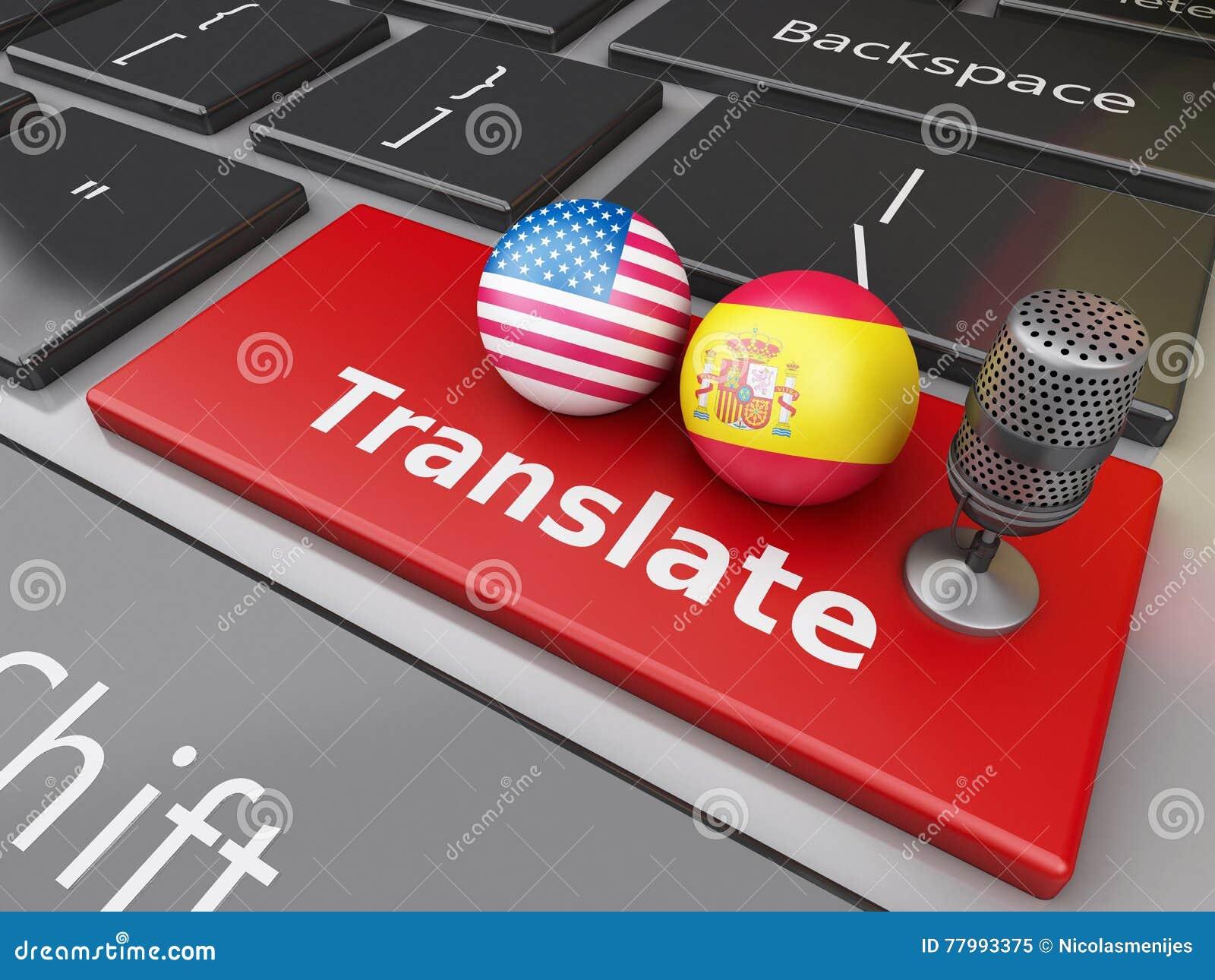 3d Ubersetzen Spanischen Und Englisch Auf Computertastatur Stock