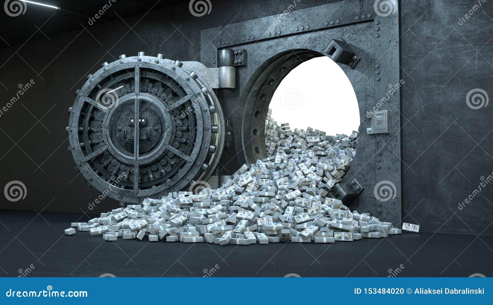 3d übertragen Eröffnung der Tresortür in der Bank mit vielem Geld