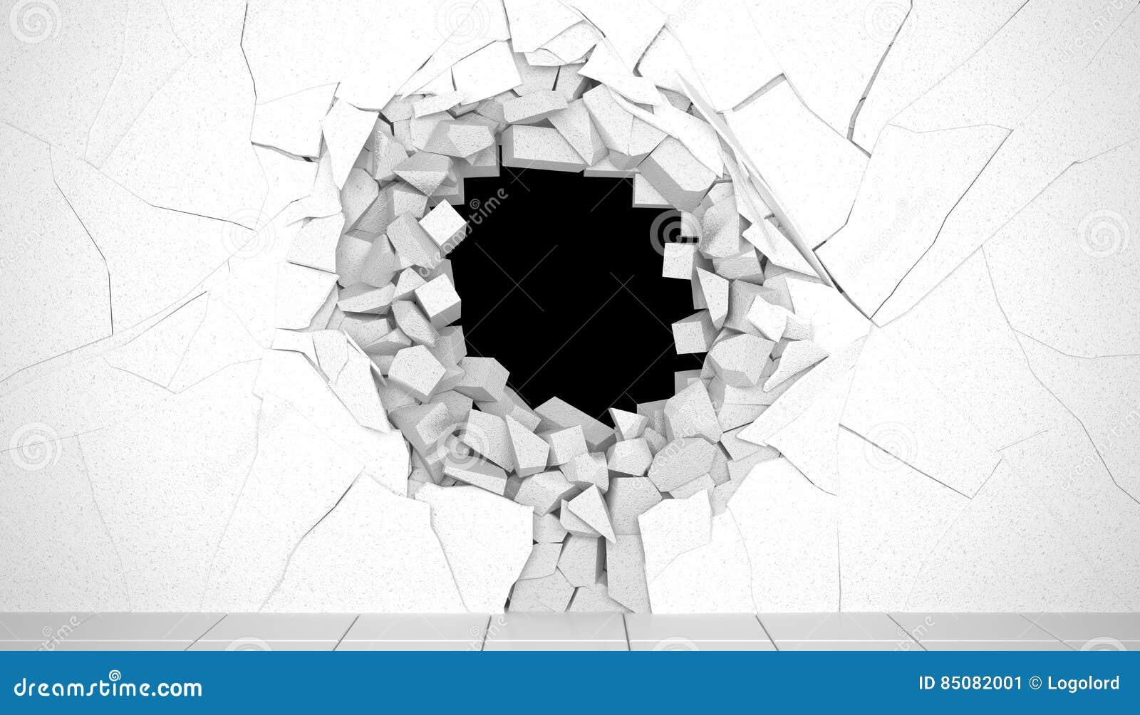 3d übertragen Kreatives Hintergrundkonzept: Zerstörung einer Wand