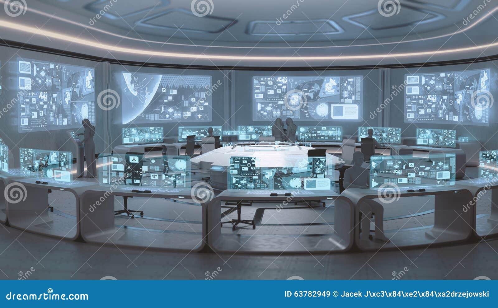 3D übertragen, moderner, futuristischer Kommandozentraleinnenraum mit Leuten