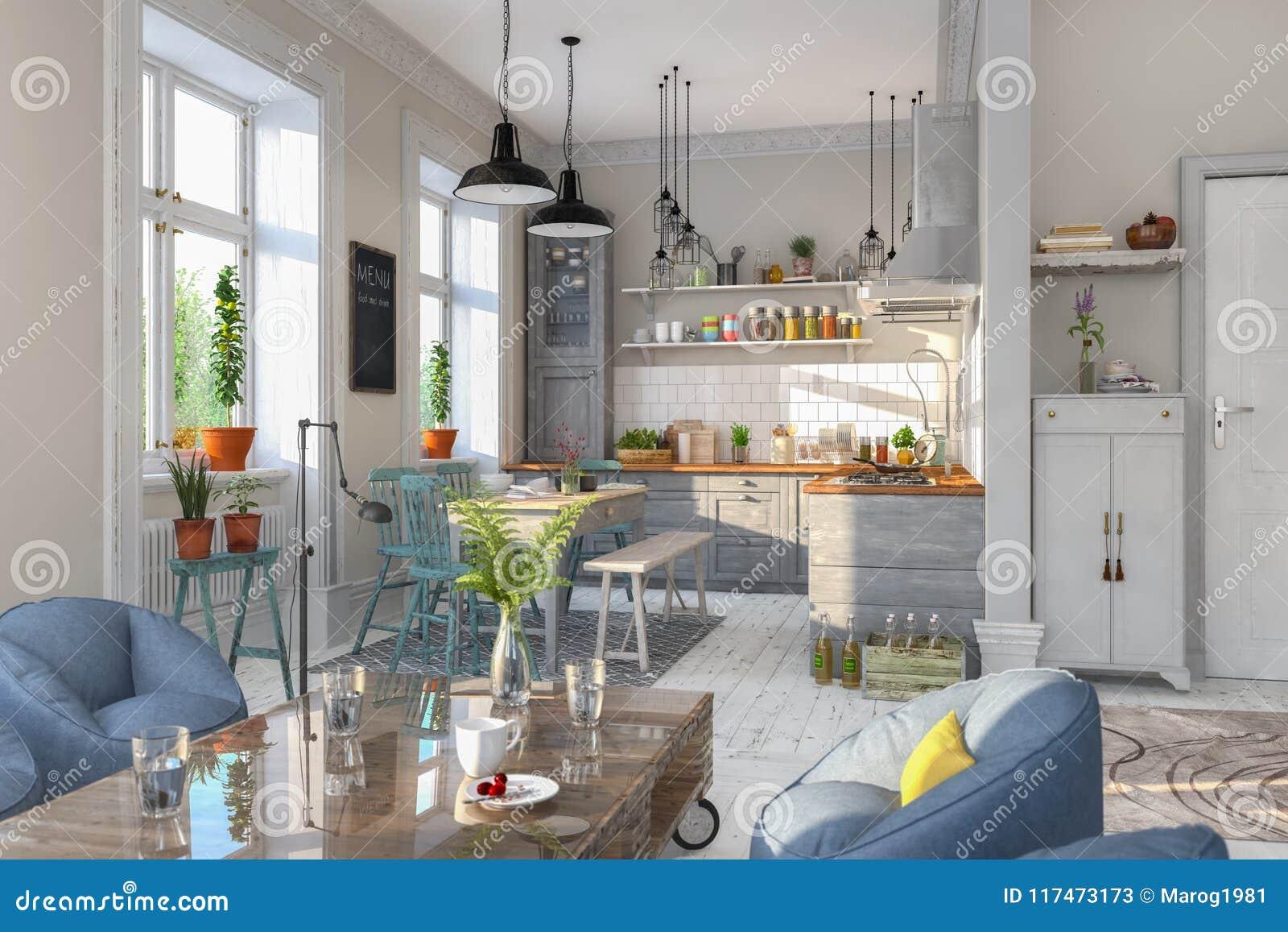 3d übertragen - Skandinavische Ebene - Küche - Esszimmer ...