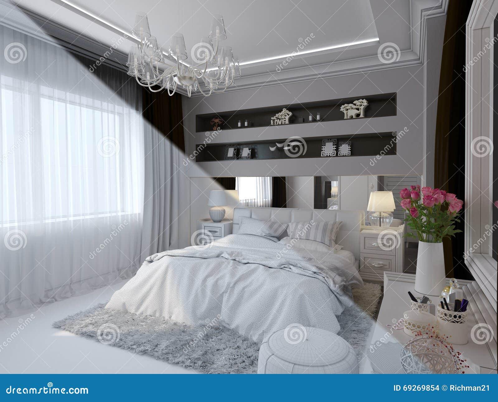 3d übertragen Von Der Innenarchitektur Des Schlafzimmers In Einer ...