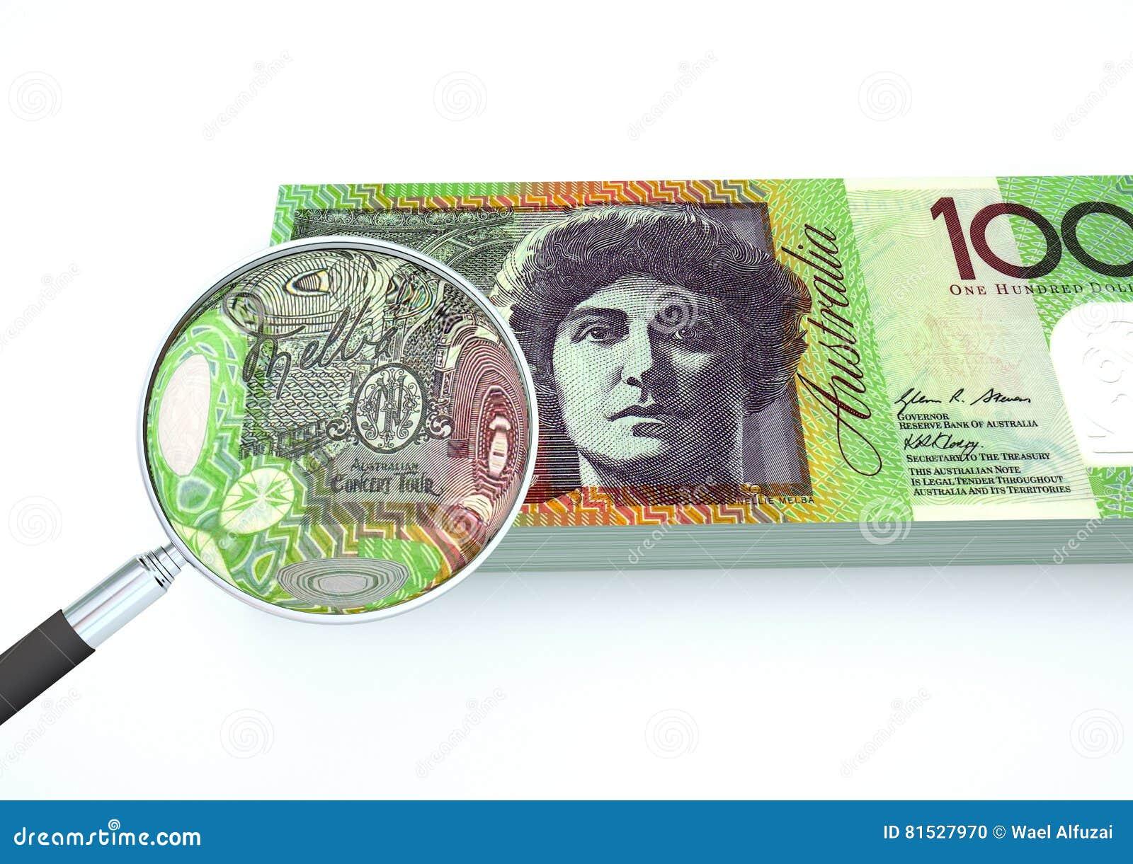 3D übertragenes Australien-Geld mit dem Vergrößerungsglas forschen Währung lokalisiert auf weißem Hintergrund nach