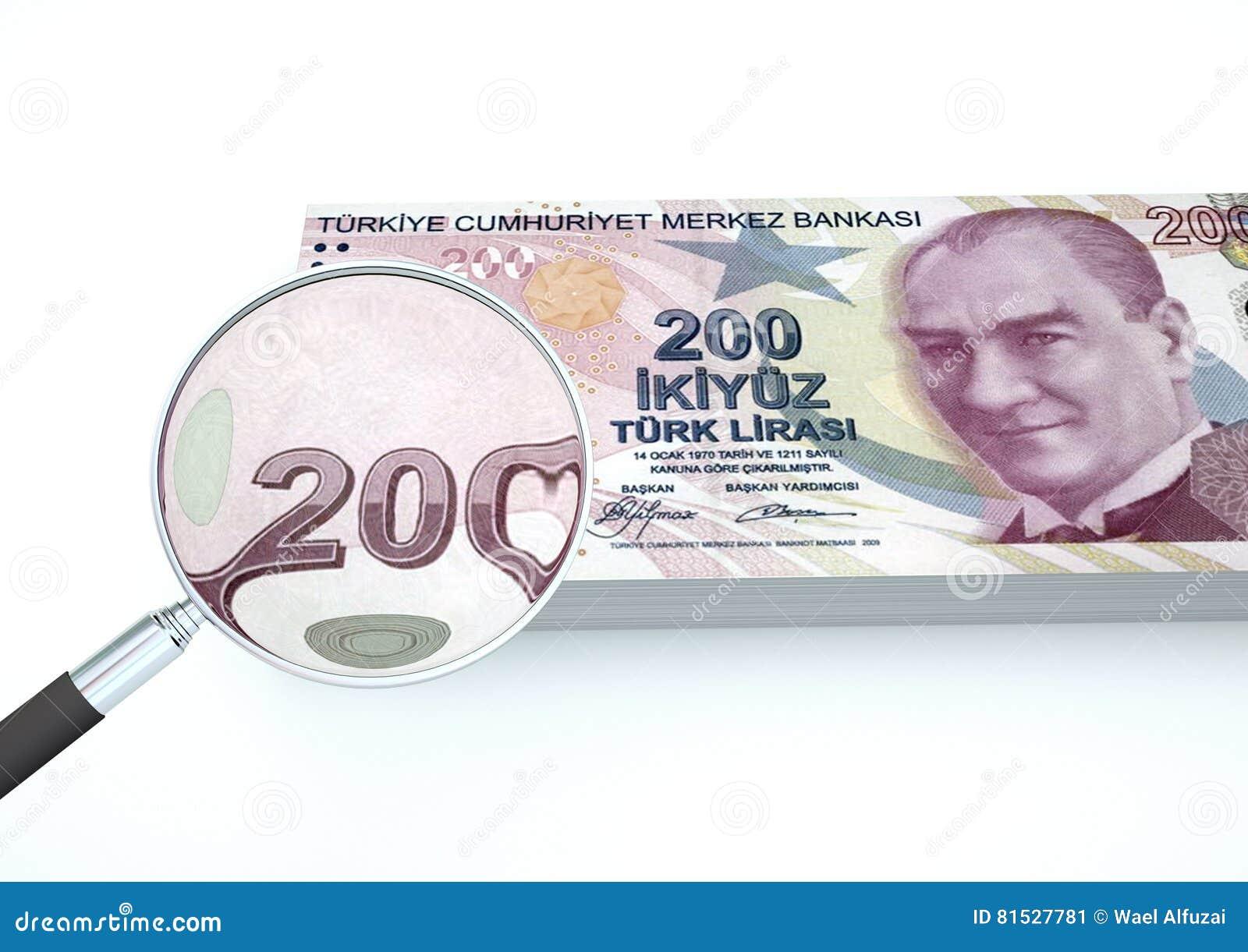 3D übertragenes die Türkei-Geld mit dem Vergrößerungsglas forschen Währung lokalisiert auf weißem Hintergrund nach
