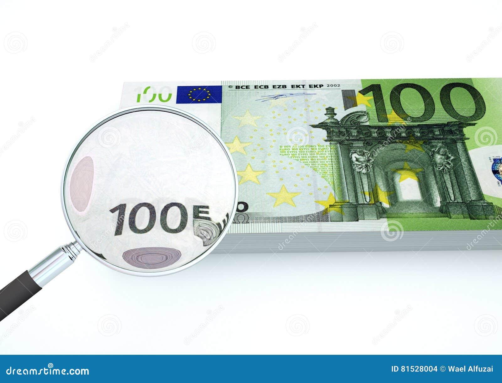 3D übertragenes Eurogeld mit dem Vergrößerungsglas forschen Währung lokalisiert auf weißem Hintergrund nach