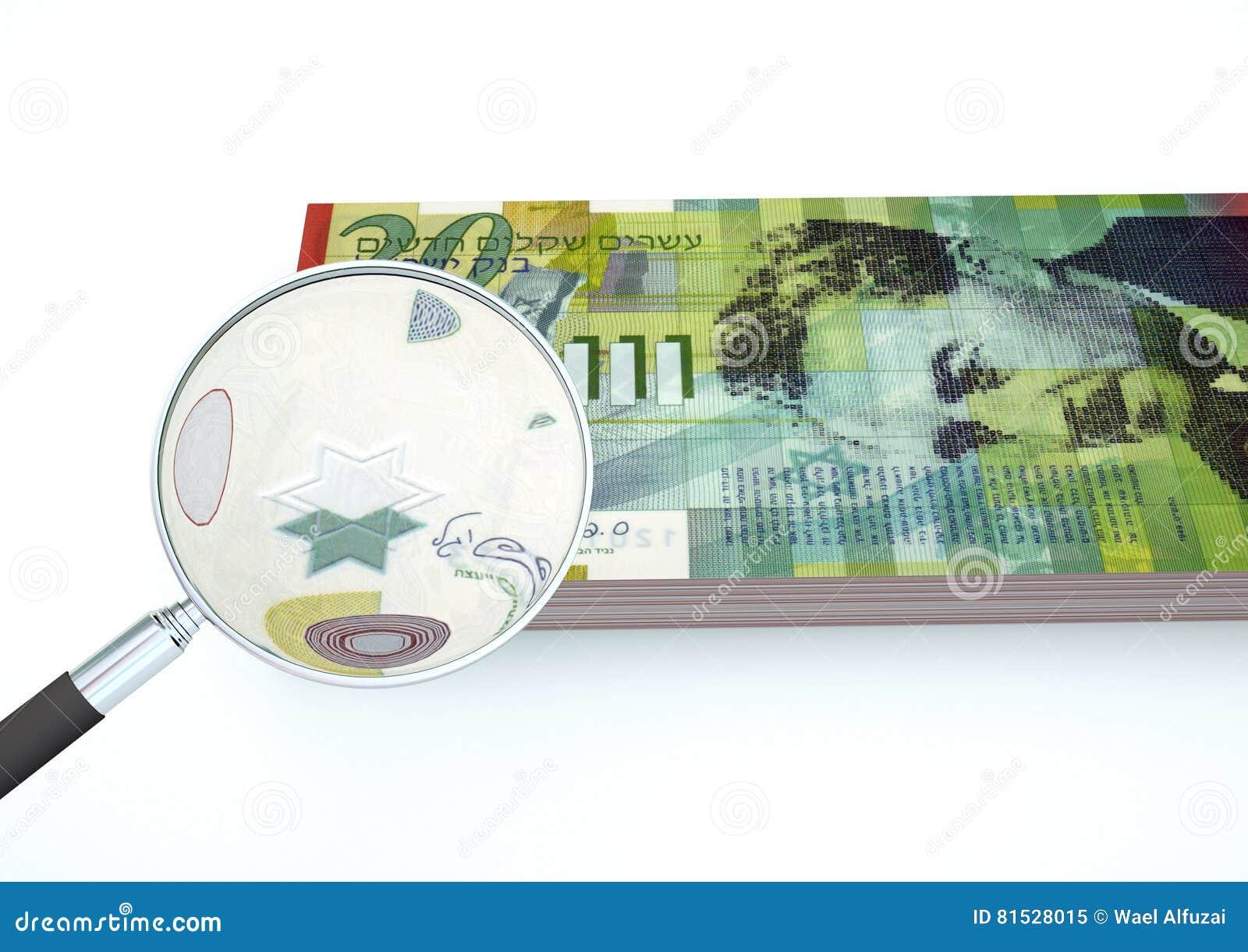 3D übertragenes Israel-Geld mit dem Vergrößerungsglas forschen Währung lokalisiert auf weißem Hintergrund nach