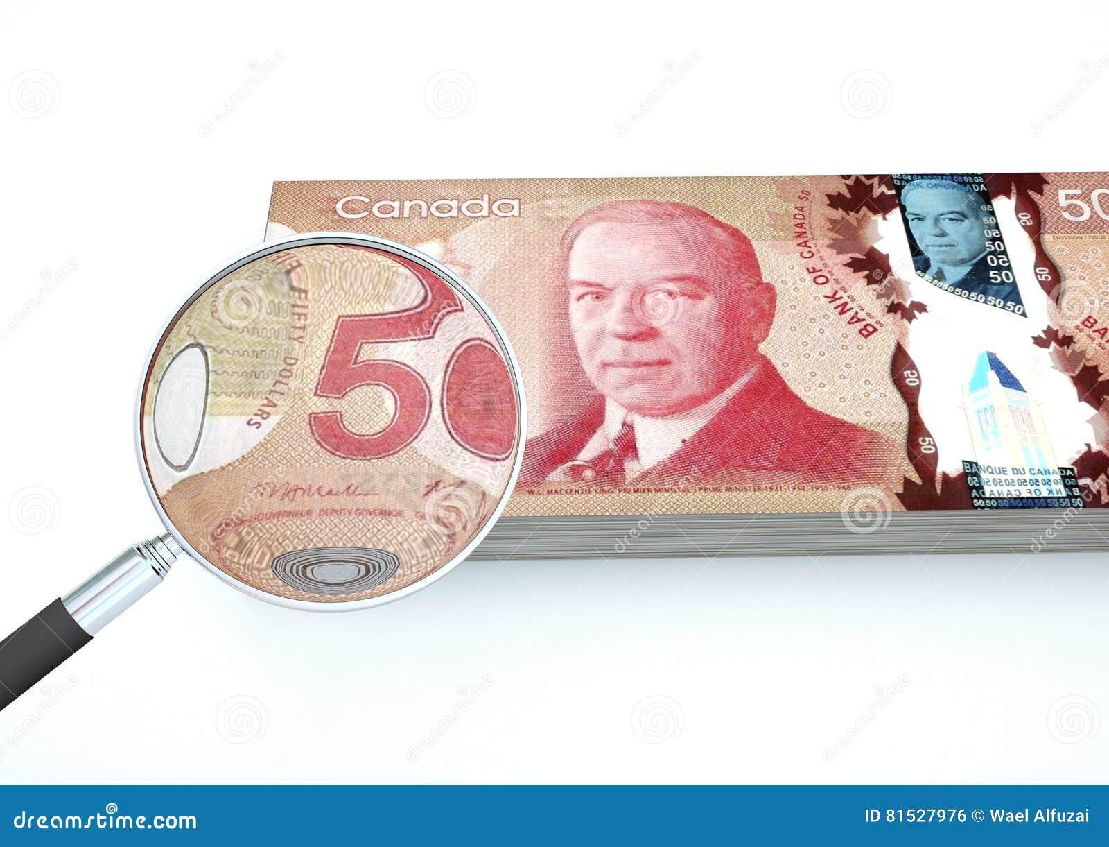 3D übertragenes Kanada-Geld mit dem Vergrößerungsglas forschen Währung lokalisiert auf weißem Hintergrund nach