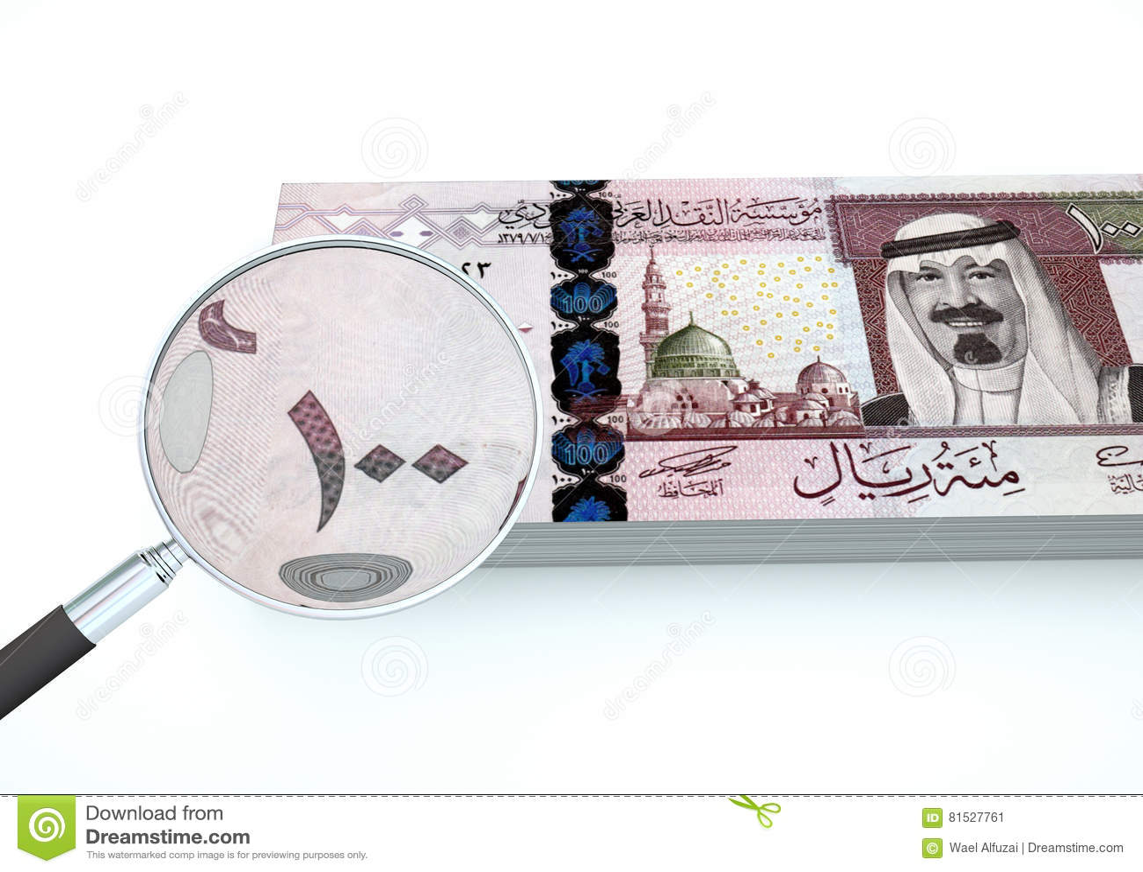 3D übertragenes neues Saudi-Arabien Geld mit dem Vergrößerungsglas forschen Währung lokalisiert auf weißem Hintergrund nach