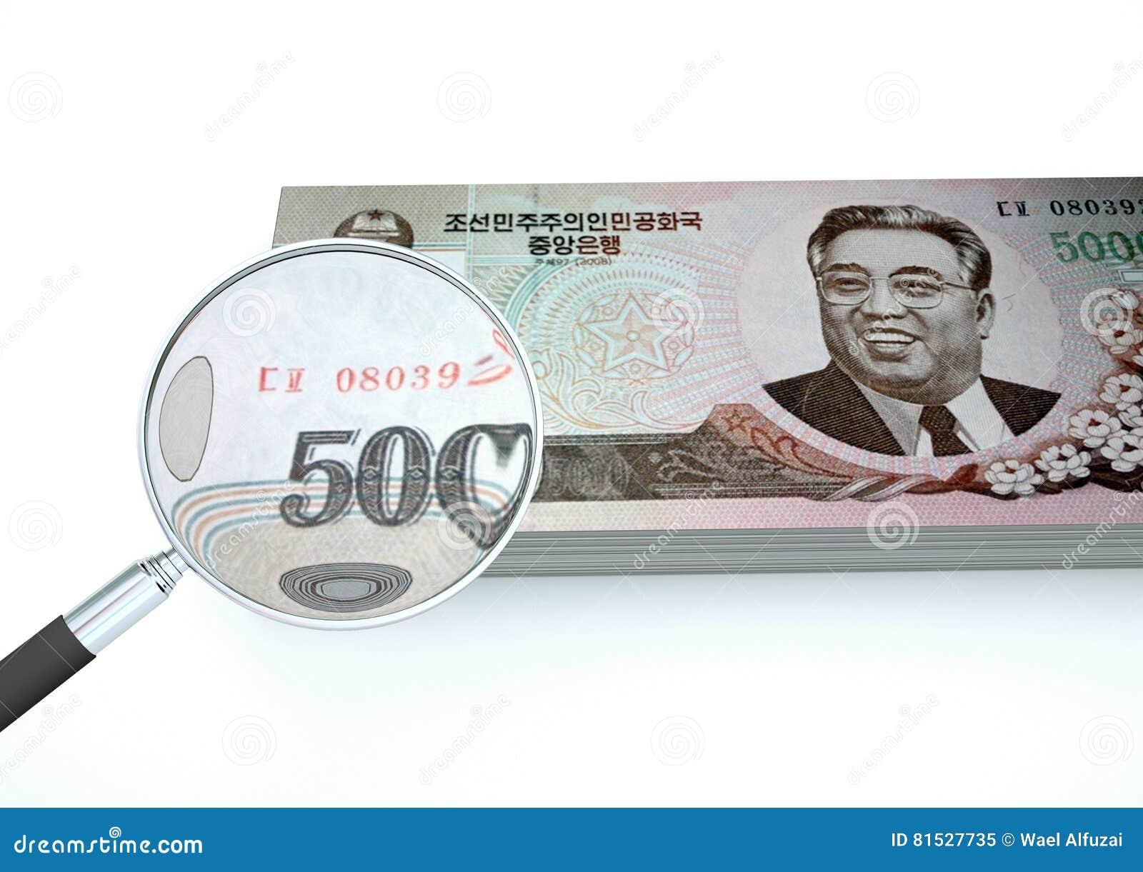 3D übertragenes nordkoreanisches Geld mit dem Vergrößerungsglas forschen Währung lokalisiert auf weißem Hintergrund nach