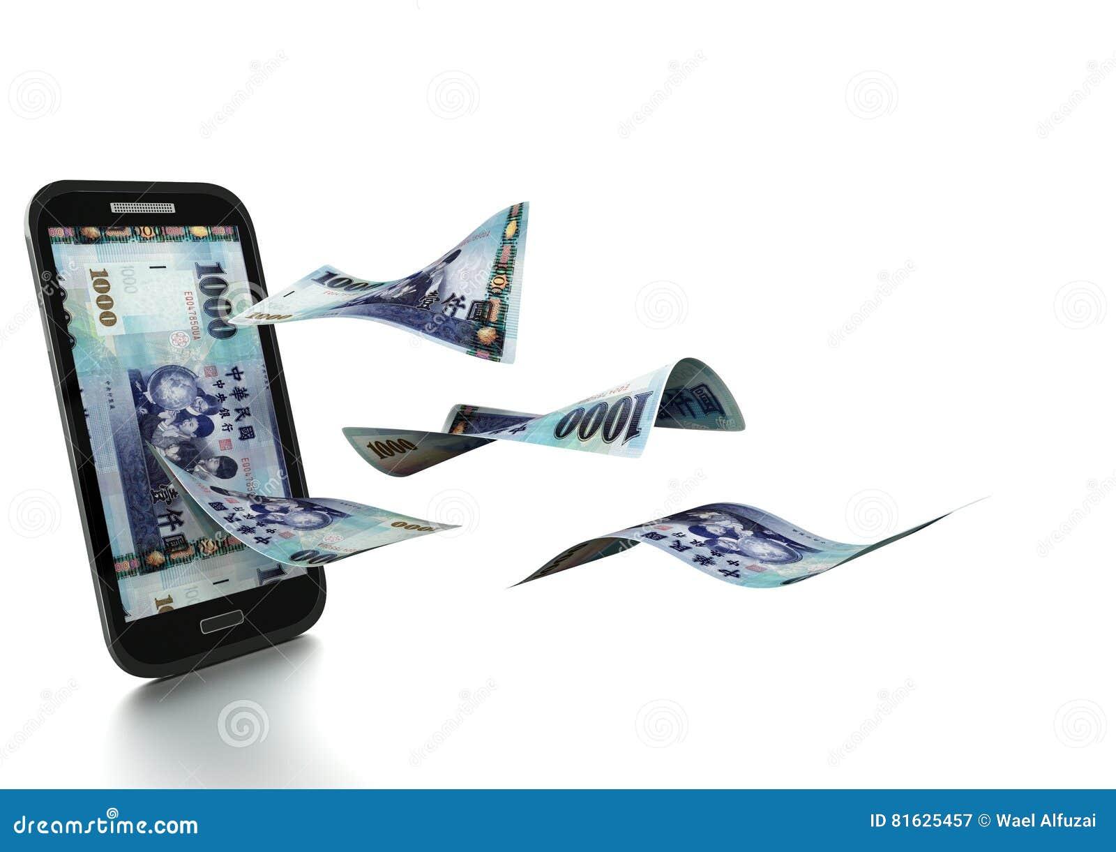 3D übertragenes taiwanesisches Geld gekippt und auf weißem Hintergrund lokalisiert